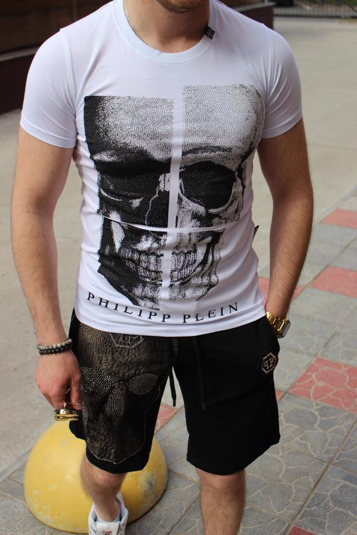 Комплект чоловічий Футболка+шорти PHILIPP PLEIN (принт стрази) білий