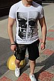 Комплект чоловічий Футболка+шорти PHILIPP PLEIN (принт стрази) білий, фото 2