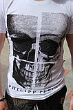 Комплект чоловічий Футболка+шорти PHILIPP PLEIN (принт стрази) білий, фото 3