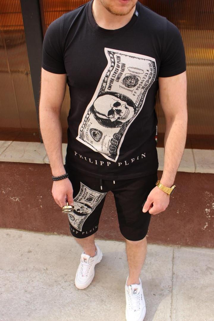 Комплект мужской Футболка+шорты  PHILIPP PLEIN (принт стразы) черный