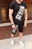 Комплект мужской Футболка+шорты  PHILIPP PLEIN (принт стразы) черный, фото 2