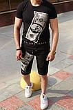 Комплект мужской Футболка+шорты  PHILIPP PLEIN (принт стразы) черный, фото 3