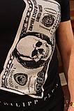 Комплект мужской Футболка+шорты  PHILIPP PLEIN (принт стразы) черный, фото 4