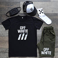 Летний комплект Off white мужской Футболка+шорты+кепка+маска+носки