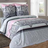 Полуторное постельное белье бязь серое розовое узоры ТМ Блакит  хлопок 120 г/м. кв.