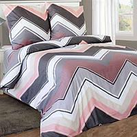 Полуторное постельное белье бязь гост серо-розовое зигзаги ТМ Блакит  хлопок 120 г/м. кв., фото 1