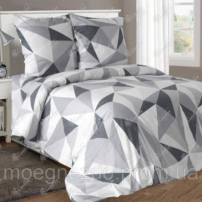 Полуторное постельное белье бязь гост серое геометрия ТМ Блакит  хлопок 120 г/м. кв.