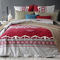 Полуторное постельное белье бязь  красное этно геометрия ТМ Блакит  хлопок 120 г/м. кв.
