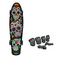 Пени Борд с светящимися колесами. Penny Board скейт скелет + Подарок