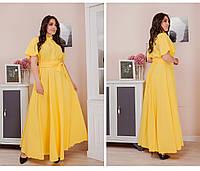 Женское платье сарафан в пол короткий рукав на поясе размер: 50-52,54-56,58-60,62-64