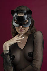 Маска кошечки Feral Feelings - Catwoman Mask, натуральная кожа, черная
