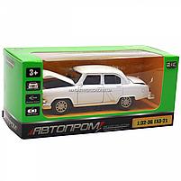 Машинка ігрова автопром «1:32-36 ГАЗ-21» метал, 14 см, білий, світло, звук, двері відкриваються (7504), фото 2