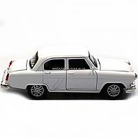 Машинка ігрова автопром «1:32-36 ГАЗ-21» метал, 14 см, білий, світло, звук, двері відкриваються (7504), фото 4
