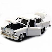 Машинка ігрова автопром «1:32-36 ГАЗ-21» метал, 14 см, білий, світло, звук, двері відкриваються (7504), фото 7