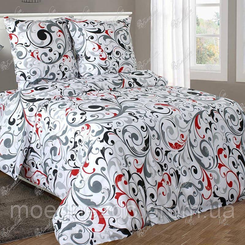 Полуторное постельное белье бязь гост красный черный вензель ТМ Блакит  хлопок 120 г/м. кв.