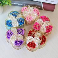 Мыло из роз в корзине  Подарок для девушки, мыло ручной работы, фото 2