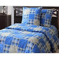 Полуторное постельное белье бязь гост синее печворк ТМ Блакит  хлопок 120 г/м. кв.