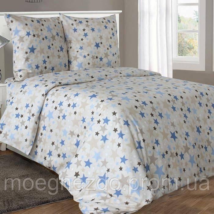 Полуторное постельное белье бязь гост звезды на бежевом ТМ Блакит  хлопок 120 г/м. кв.