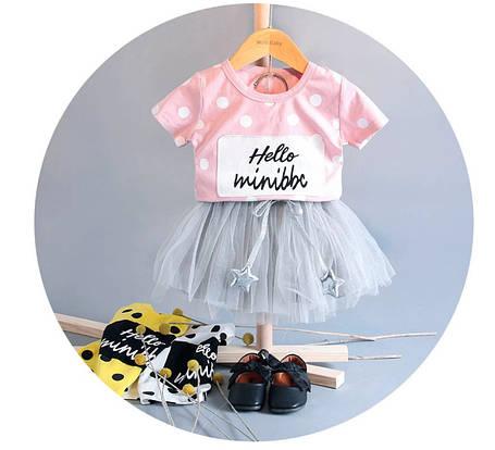 Нарядный летний костюм  на девочку футболка+юбка  1-3  года, фото 2