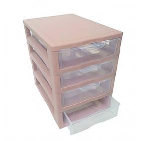 "Комод-мини пластиковый 4 яруса 27 Х 19 Х 27 см ""Алеана"" розовый 127015"