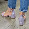 Босоножки женские замшевые на невысоком каблуке, цвет лиловый, фото 2