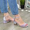 Босоножки женские замшевые на невысоком каблуке, цвет лиловый, фото 3