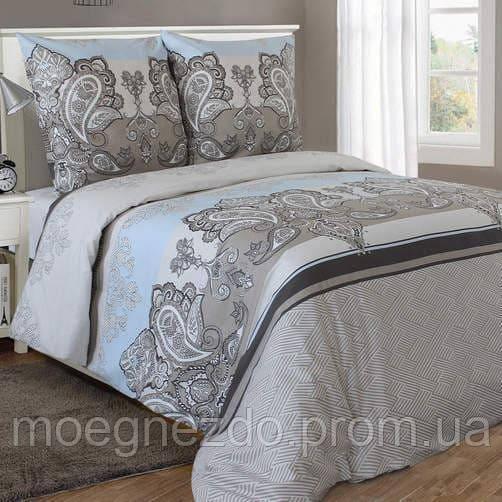 Полуторное постельное белье бязь серо-голубое узоры ТМ Блакит  хлопок 120 г/м. кв.