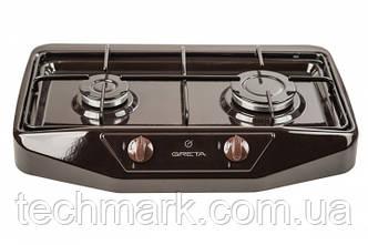 Настольная газовая плита GRETA 1103 коричневая  на 2 конфорки