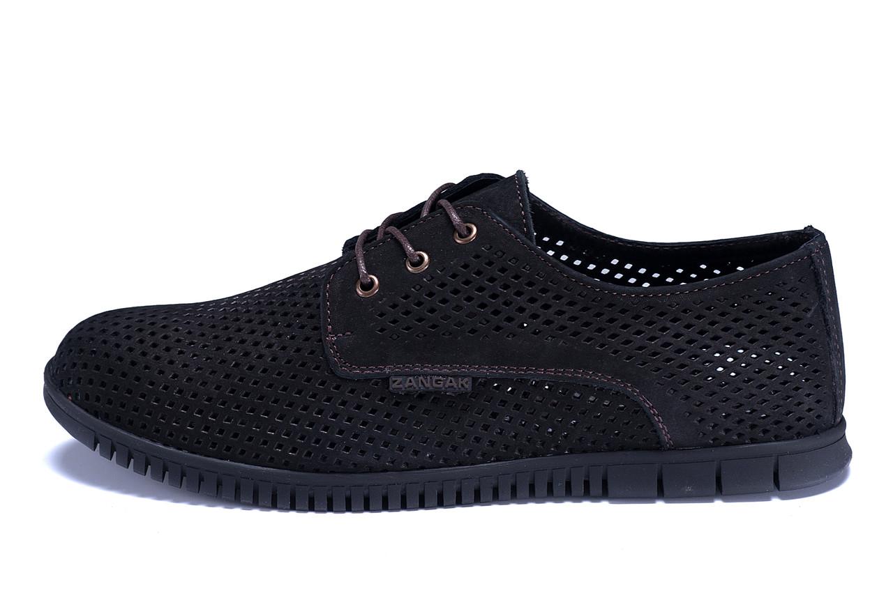 Мужские кожаные летние туфли, перфорация ZG  Man  Black