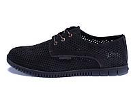 Мужские кожаные летние туфли, перфорация ZG  Man  Black, фото 1