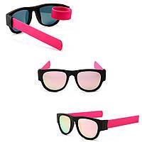 Солнцезащитные складные очки с гибкими дужками, спортивные, браслет на руку, унисекс, розовые с розовыми стекл