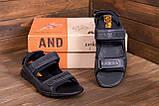 Мужские кожаные сандалии  AND Wolfstep Black (реплика), фото 9