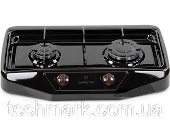Настольная газовая плита GRETA 1103 черная  на 2 конфорки