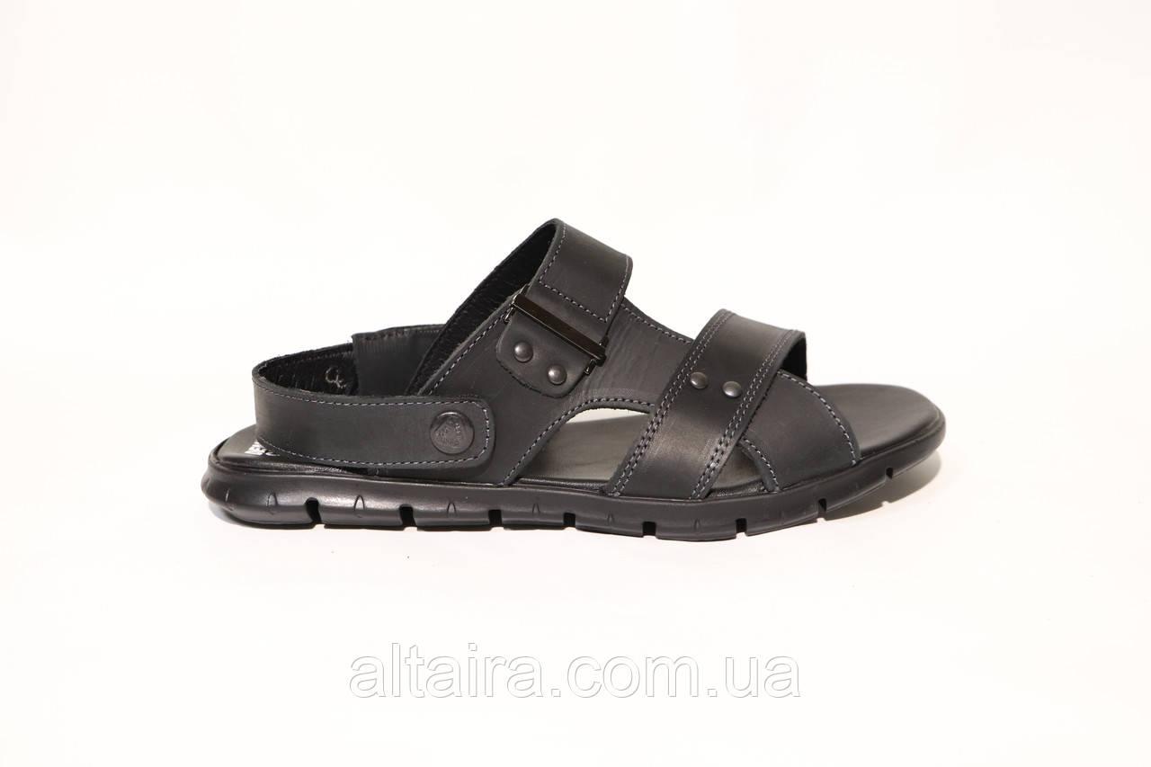 Чоловічі чорні сандалі, босоніжки з натуральної шкіри. ANDANTE. Розміри 40-45.