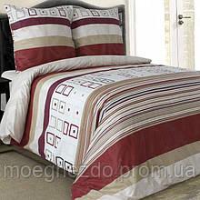 Полуторное постельное белье бязь гост бежево-красное полосы ТМ Блакит  хлопок 120 г/м. кв.