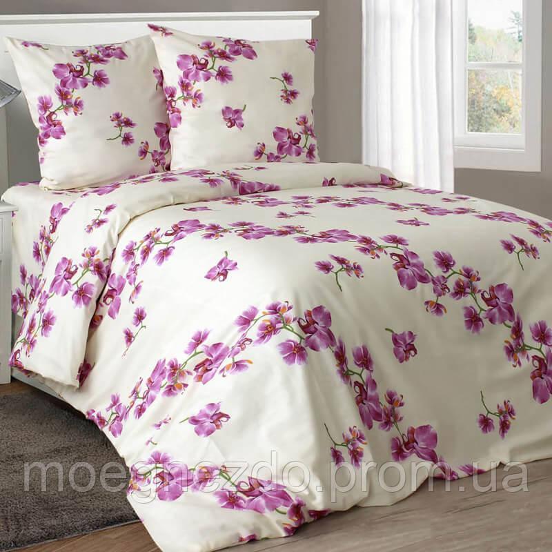 Полуторное постельное белье бязь гост орхидеи на бежевом ТМ Блакит  хлопок 120 г/м. кв.