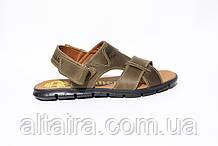 Мужские кожаные сандалии оливкового цвета. ANDANTE. Размеры 40-45.