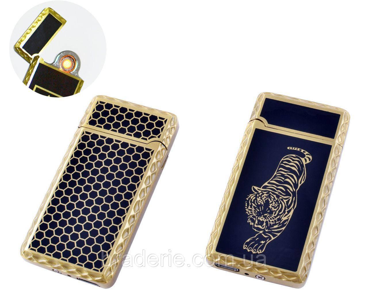 Сенсорная USB зажигалка со спиралью Lighter HL140 чёрная с рисунком