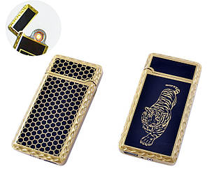 Сенсорная USB зажигалка со спиралью Lighter HL140 чёрная с рисунком, фото 2