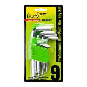Alloid. Набор ключей шестигранных с шаром, изогнутых. 9 предм. 1,5-10 мм. (НШ-Ш0912) (НШ-Ш0912)
