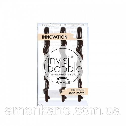 Заколка-невидимка для волосся Invisibobble Wawer. Оригінал. У коричневому кольорі. Набір