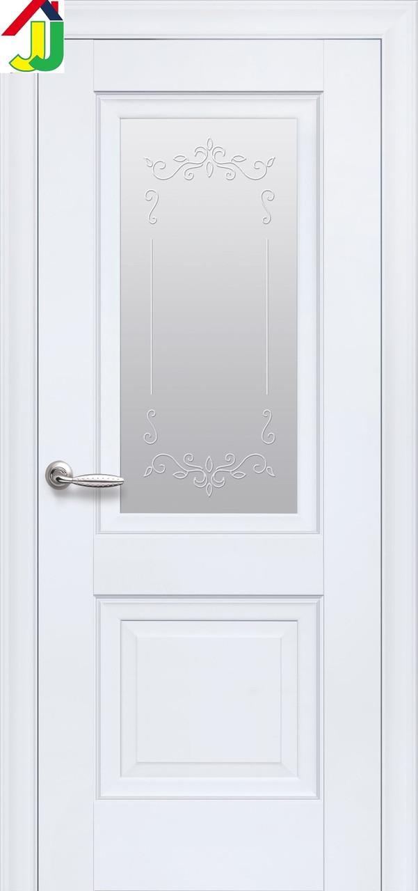 Дверь межкомнатная Новый стиль Premium Имидж Элегант белый матовый без молдинга, стекло с прозрачным рисунком