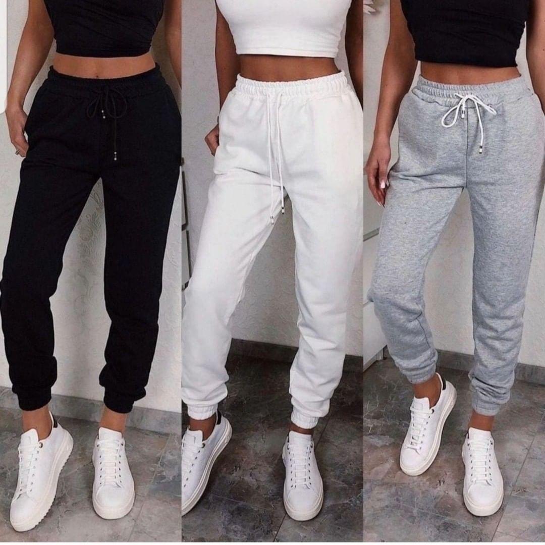 Повседневные женские спортивные штаны с манжетами из двунитки