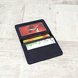 Кардхолдер cardholder синий из натуральной кожи crazy horse, фото 3