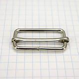 Регулятор пряжка перетяжка 30 мм никель для сумок a6011 (50 шт.), фото 3