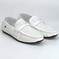 Мужские мокасины белые кожаные перфорация обувь летняя комфорт ETHEREAL Flotar White Perf Rosso Avangard