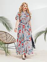 Стильное платье-рубашка хлопок в узкую полосу и цветочный принт 50-52 54-56