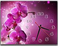 Оригинальные фиолетовые настенные часы для дома Фаленопсис, 30х40 см