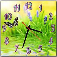 Оригинальные желто-зеленые настенные часы в детскую комнату  Бабочка А11, 30х30 см