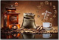 Красивые коричневые часы на стену для кухни  Аромат кофе 30х45 см